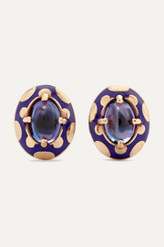 Alice Cicolini Candy 14-karat gold and enamel tanzanite earrings