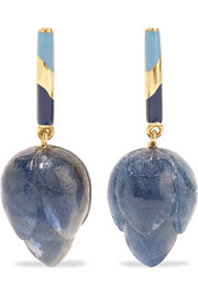 14-karat gold, enamel and chalcedony earrings