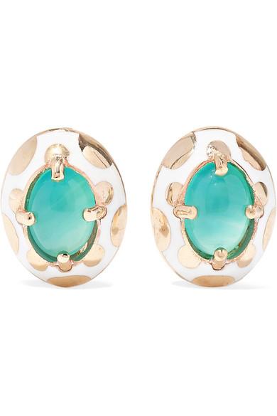 ALICE CICOLINI Candy 14-Karat Gold And Enamel Opal Earrings