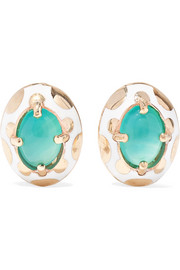 Candy 14-karat gold and enamel opal earrings