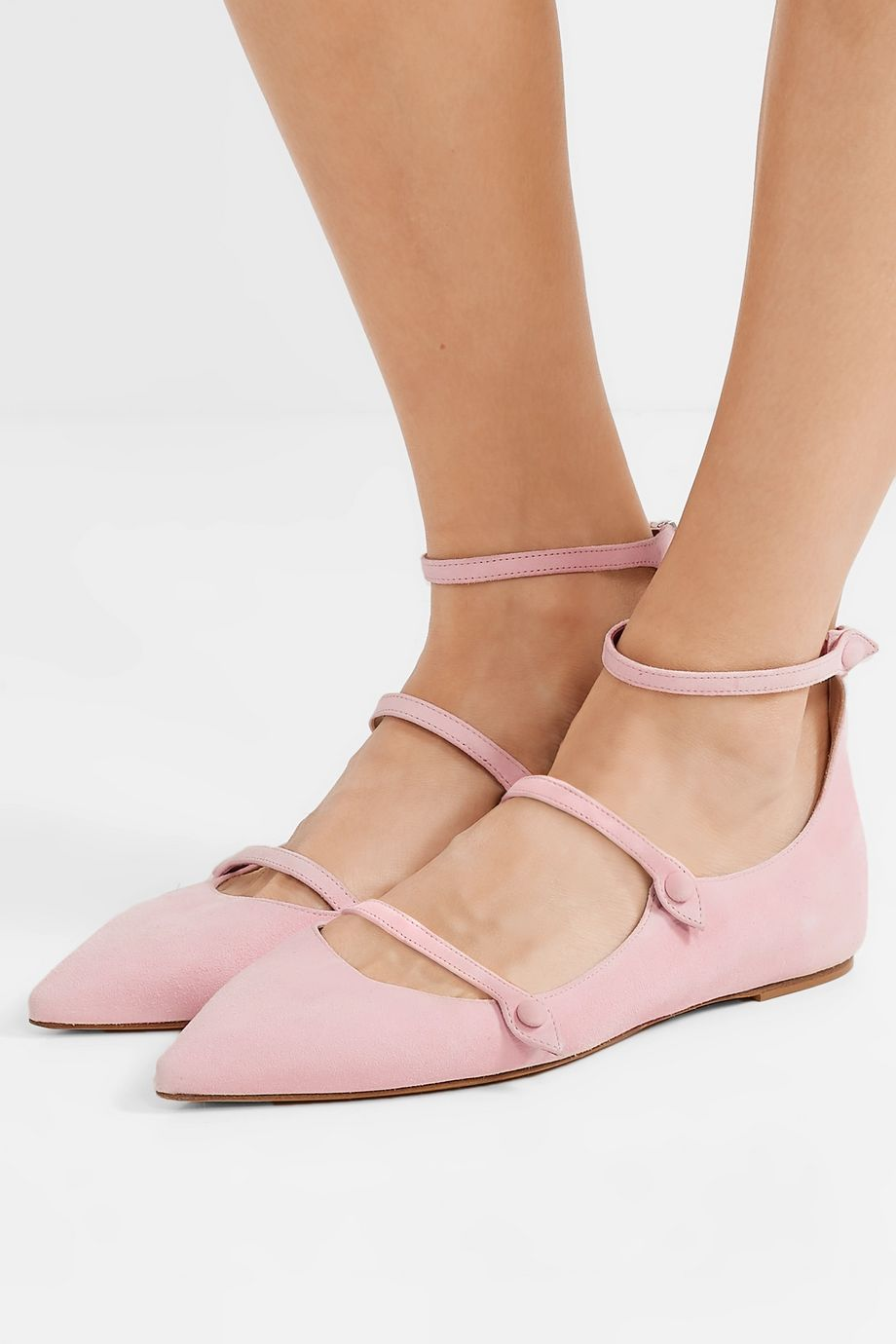 Tabitha Simmons + Equipment Lynette suede point-toe flats