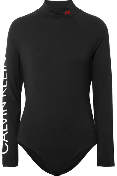 Statement 1981 Printed Stretch Modal Jersey Bodysuit by Calvin Klein Underwear