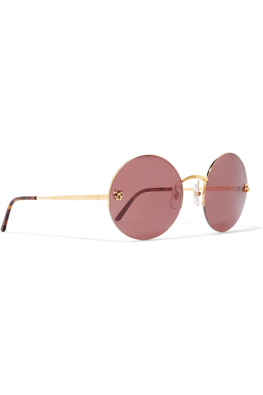 Cartier Eyewear Lunettes de soleil rondes en plaqué or Panthère