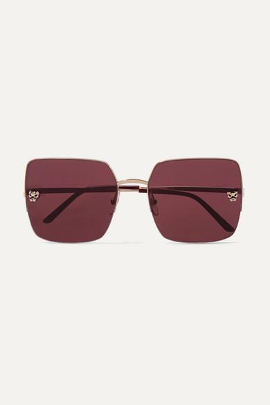 Cartier Eyewear   Lunettes de soleil carrées en plaqué or Panthère    NET-A-PORTER.COM 8a1776967054