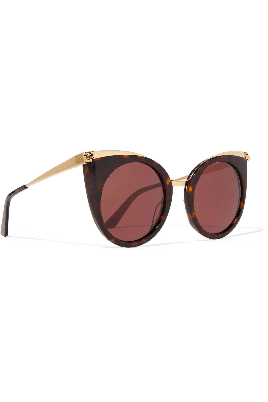 Cartier Eyewear Lunettes de soleil œil-de-chat en acétate effet écaille et en métal doré