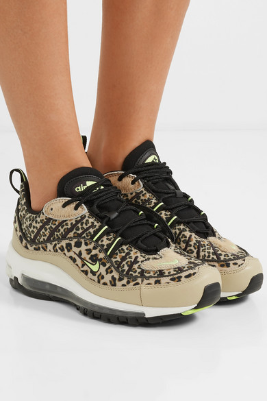 481a846c6 Air Max 98 leopard-print canvas, textured-leather and faux calf hair  sneakers