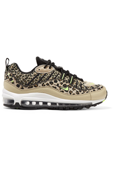 various colors 8ef4e da93d Air Max 98 leopard-print canvas, textured-leather and faux calf hair  sneakers