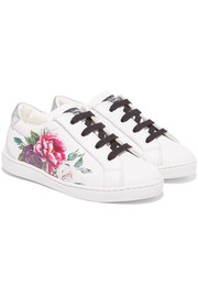 Sizes 24 - 28 floral-print leather sneakers