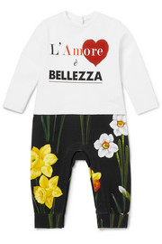 Months 12 - 18 printed cotton-jersey all-in-one