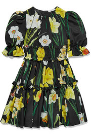 Ages 2 - 6 ruffled floral-print silk-georgette dress