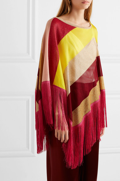 e89b5c5cb908d Missoni | Fringed striped metallic crochet-knit poncho | NET-A ...