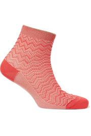Metallic crochet-knit socks