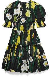 Ages 8 - 12 ruffled floral-print silk-georgette dress