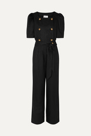 Lisa Marie Fernandez Diana belted double-breasted linen jumpsuit