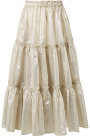 Tiered cotton-blend lamé midi skirt