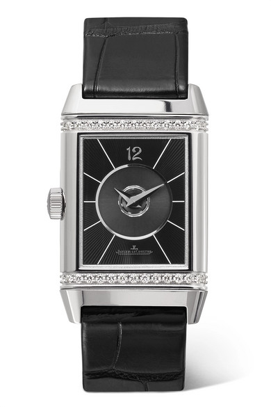JAEGER-LECOULTRE Reverso Classic Duetto 24.4Mm Medium Stainless Steel, Alligator And Diamond Watch in Silver