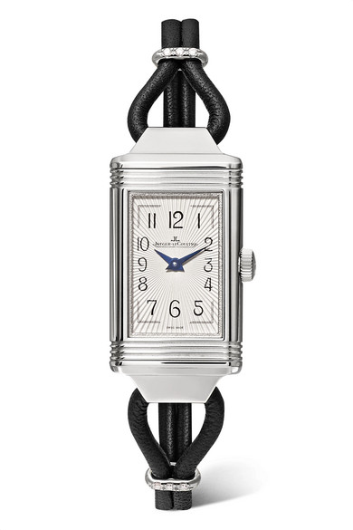JAEGER-LECOULTRE | Jaeger-LeCoultre - Reverso One Cordonnet 16.3mm Stainless Steel, Leather And Diamond Watch - Silver | Goxip