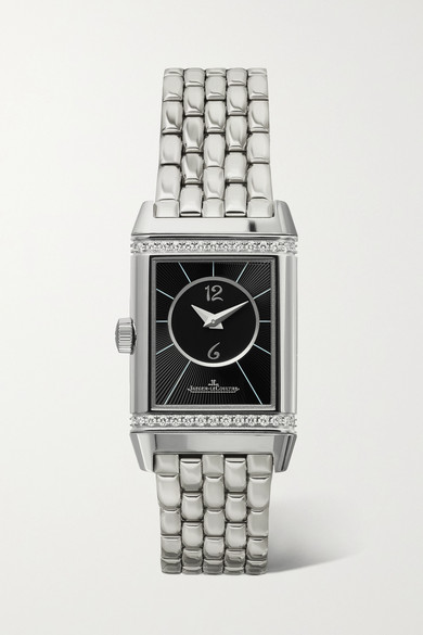 JAEGER-LECOULTRE Reverso Classic Duetto Small Stainless Steel And Diamond Watch in Silver