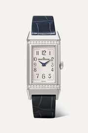 Reverso One medium 20mm stainless steel, diamond and alligator watch