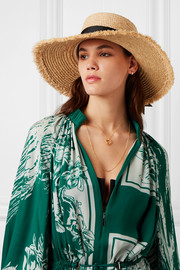 The Ventura frayed grosgrain trimmed straw hat