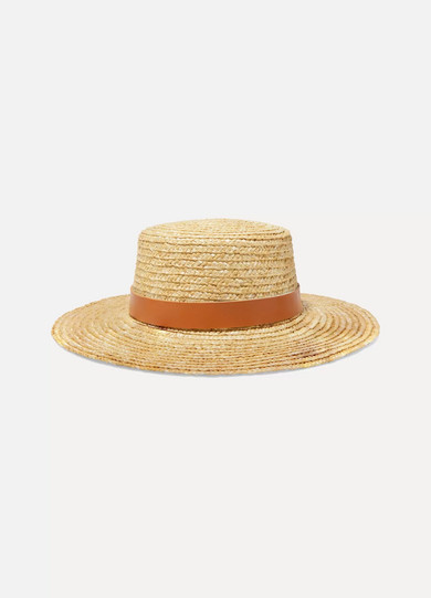 LACK OF COLOR Spencer Leather-Trimmed Straw Hat in Tan