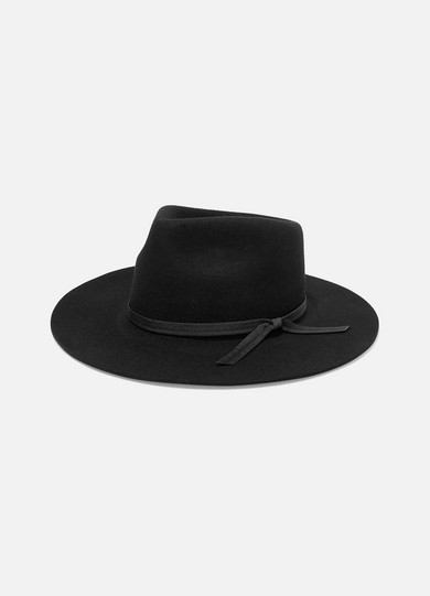 LACK OF COLOR The Jethro Grosgrain-Trimmed Wool Fedora in Black