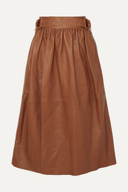 Betty gathered leather wrap midi skirt