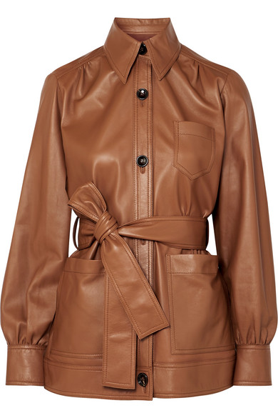 Saul Belted Leather Jacket in Brown