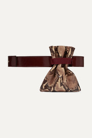 Fazzoletto snake-effect and glossed-leather belt bag