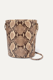 Longue snake-effect leather shoulder bag