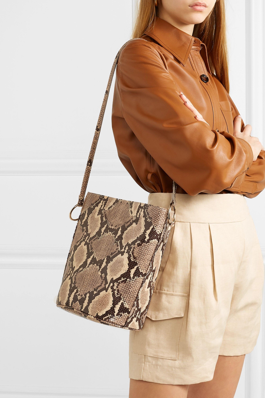 TL-180 Longue snake-effect leather shoulder bag