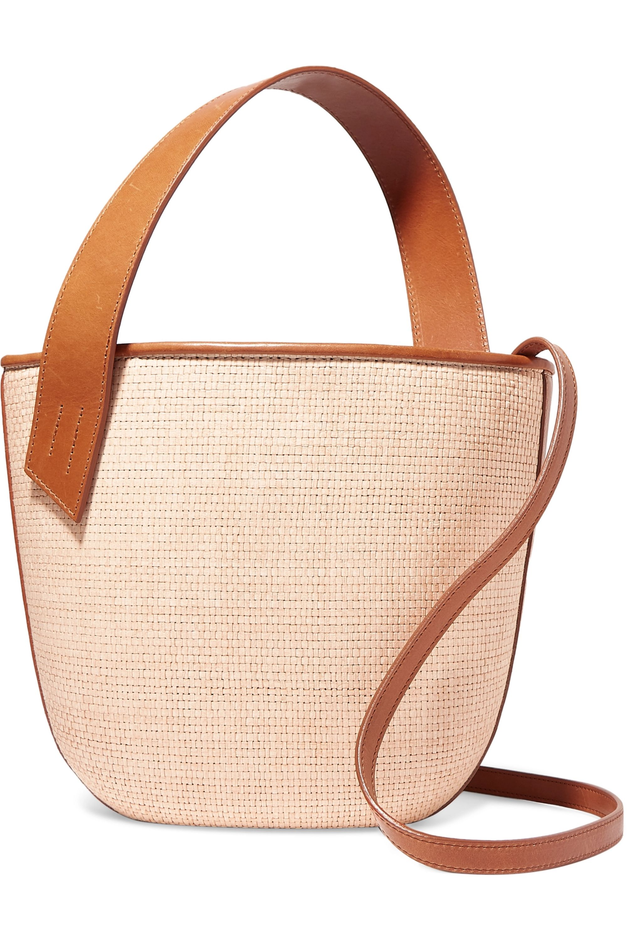 TL-180 Panier Saigon leather-trimmed woven raffia shoulder bag