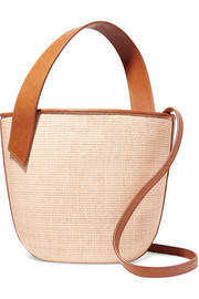 Panier Saigon leather-trimmed woven raffia shoulder bag