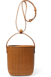 Petit Panier Saigon woven raffia and leather shoulder bag
