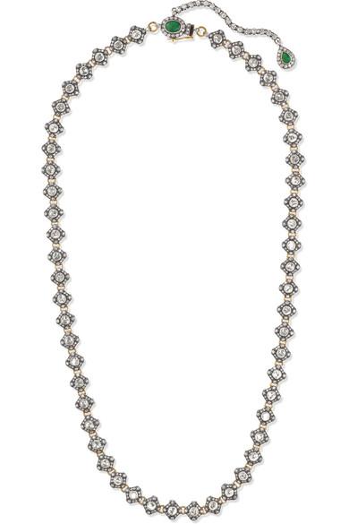 AMRAPALI 18-Karat Gold, Sterling Silver, Diamond And Emerald Necklace