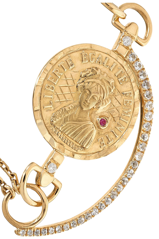 Anissa Kermiche Louise D'Or Armband aus 18 Karat Gold mit mehreren Steinen