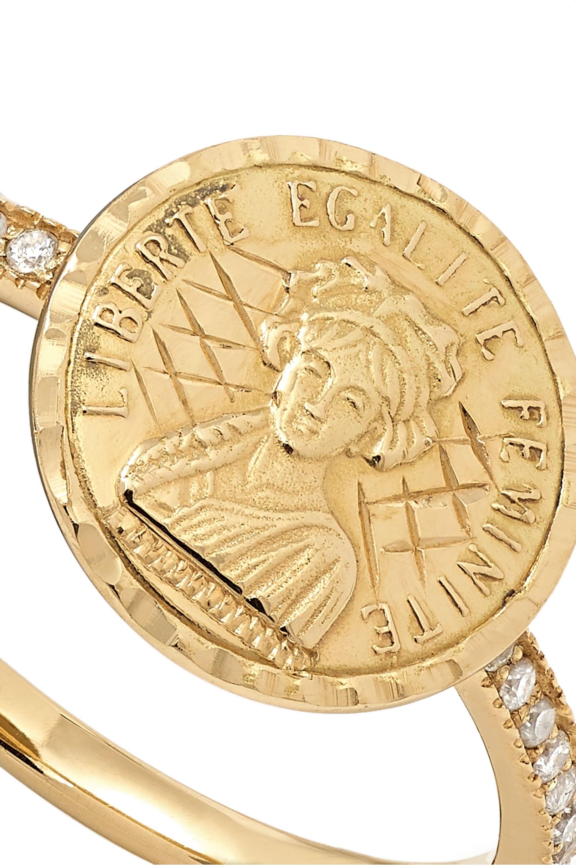 Anissa Kermiche Louise D'Or Pavé Ring aus 18 Karat Gold mit Diamanten