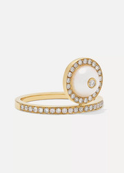Solitaire 18-karat gold, diamond and pearl ring