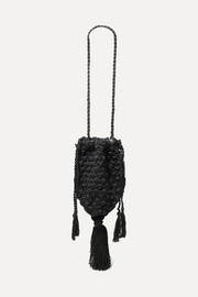 Marina tasseled crocheted shoulder bag