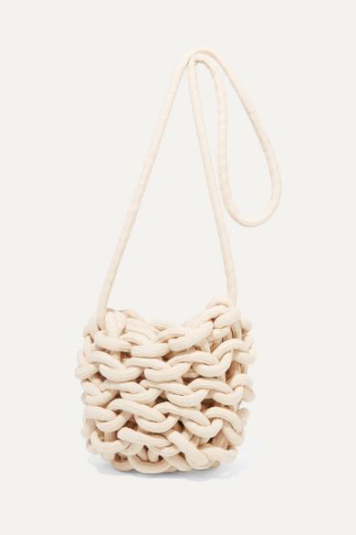 ALIENINA Ella Woven Cotton Shoulder Bag in White