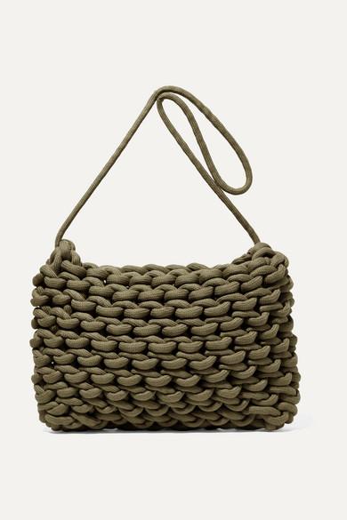 ALIENINA Fiona Woven Cotton Shoulder Bag in Army Green