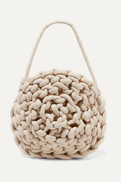 ALIENINA Ida Woven Cotton Shoulder Bag in White