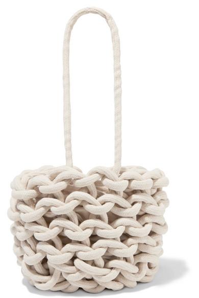 ALIENINA Julia Woven Cotton Bucket Bag in White