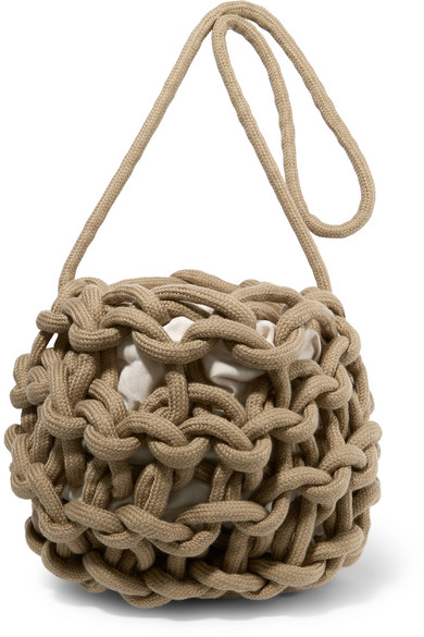 ALIENINA Nadia Woven Cotton Shoulder Bag in Army Green