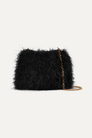 Knitted feather shoulder bag