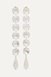 Estasi gold-tone, crystal and faux pearl clip earrings