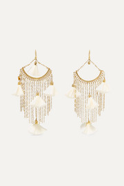 Brezza gold-tone, pearl and silk earrings