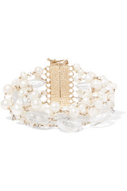 Prato Fiorito gold-tone, pearl and crystal bracelet