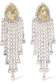 Alessandra Rich Borealis silver-tone crystal clip earrings