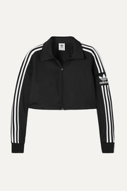 adidas Originals Cropped striped stretch-jersey track jacket